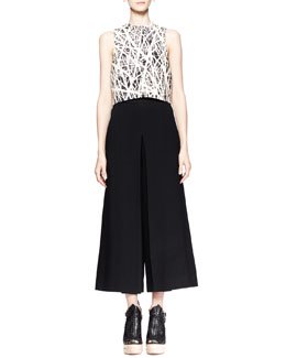 Proenza Schouler Branch-Print Crop Top and High-Waist Gaucho Pants