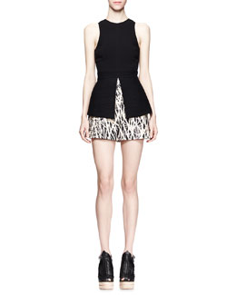Proenza Schouler Flared Slit-Hem Top & Branch-Print High-Waist Shorts