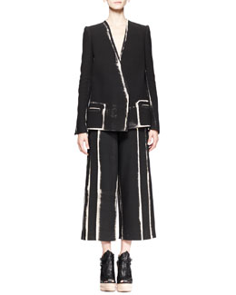Proenza Schouler Distressed-Print Double-Breasted Jacket and Wide Cropped Pants