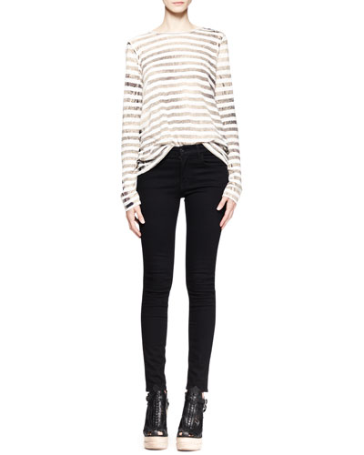Proenza Schouler Faded Striped T-Shirt and Ultra-Skinny Ankle Jeans