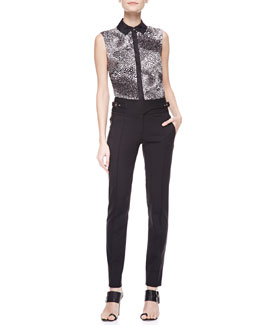 Jason Wu Sleeveless Printed Silk Blouse & Bi-Stretch Wool Utility Pants