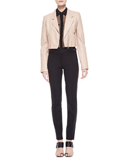Jason Wu Cropped Leather Motorcycle Jacket, Sheer Silk Utility Shirt & Bi-Stretch Wool Utility Pants