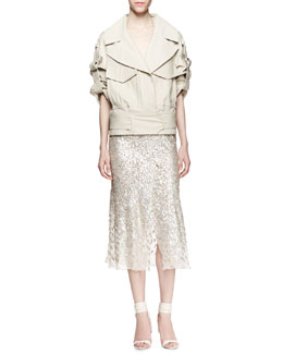Jason Wu Cropped Utility Trench Jacket & Sequined Bias-Cut Midi Skirt