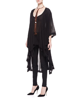 Donna Karan 3/4-Sleeve Long Jersey Tunic, Seamed Leggings & Leather Choker Necklace