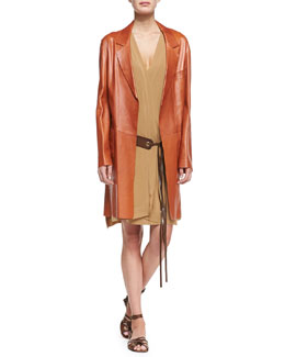 Donna Karan Long Leather Topper & Leather Belted Draped Dress