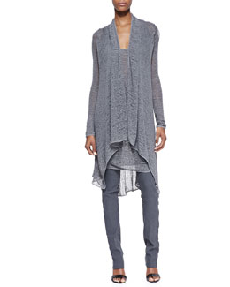 Donna Karan Long-Sleeve Cozy Cardigan, Sleeveless Draped Cowl Tunic & Pull-On Pants with Seams