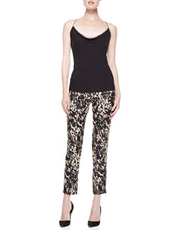 Donna Karan Draped Tank with Chain Straps & Side Zip Slim Pants