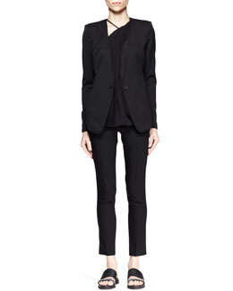 Helmut Lang Smoking Wool Blazer and Cropped Pants & Lush Twist-Neck Top