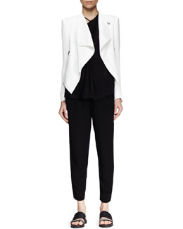 Helmut Lang Sugar Cropped Drape Jacket, Lush Twist-Neck Top & Relic Cropped Drawstring Pants