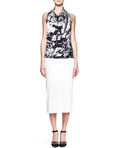 Helmut Lang Meteor Printed Racerback Top and Ion Jersey Midi Skirt