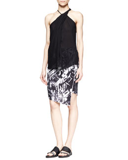 Helmut Lang Lush Twist-Neck Top and Meteor Printed Asymmetric Skirt