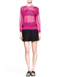 Helmut Lang Transparent Crepe Pullover Sweatshirt and Cove High-Waist Shorts