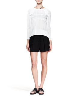 Helmut Lang Static Jacquard Knit Pullover and Cove High-Waist Shorts