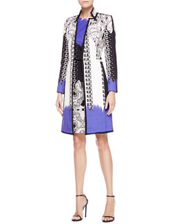 Etro Dip-Dye Matelasse Paisley Coat & Sleeveless Mixed-Print Dress