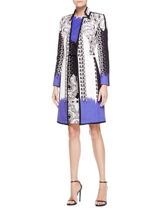 Dip-Dye Matelasse Paisley Coat & Sleeveless Mixed-Print Dress