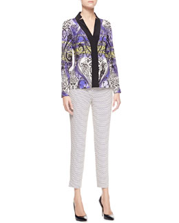 Etro Printed Charmeuse Long-Sleeve Shirt & Cravat-Print Cropped Pants