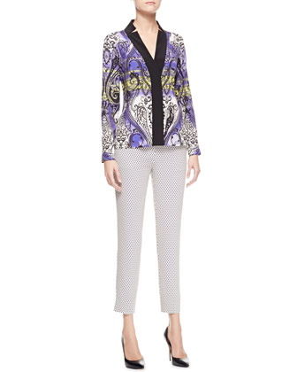 Printed Charmeuse Long-Sleeve Shirt & Cravat-Print Cropped Pants