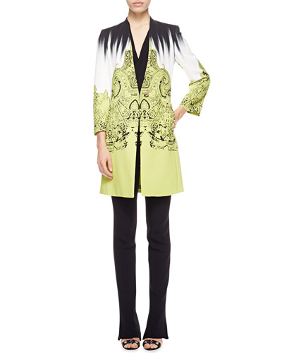 Etro Brushstroke Paisley One-Button Cady Short Topper Jacket, Faux-Wrap Silk Blouse & Cady Flare-Leg Pants