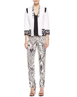 Etro Print-Trimmed Stretch Cotton Jacket, Faux-Wrap Silk Blouse & Paisley-Print Cady Pants
