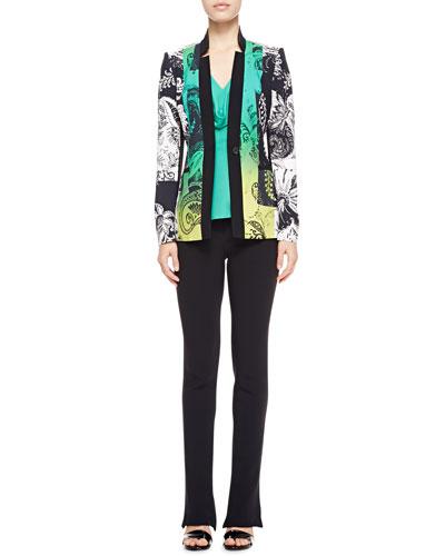 Etro Paisley-Print Jacket, Cowl-Neck Silk Blouse & Cady Flare-Leg Pants