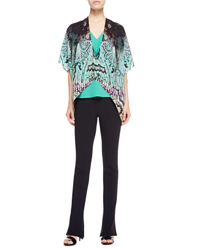 Etro Printed Plisse Silk Poncho, Cowl-Neck Silk Blouse & Cady Flare-Leg Pants