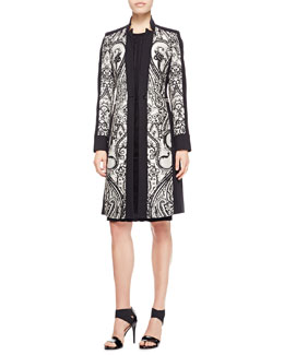 Etro Scroll Paisley-Panel Coat & Lace-Applique Cap-Sleeve Dress