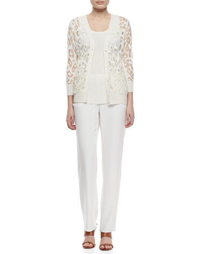 Magaschoni Burn Leopard Pattern Cardigan with Pockets, Ribbed Cashmere Tank & Washed Silk Soft Pants