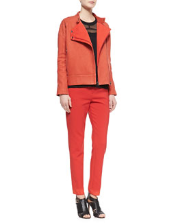 J Brand Ready to Wear Goodall Asymmetric Snap Leather Jacket/Jan Shell with Sheer Sleeveless Top & Marianne Pants