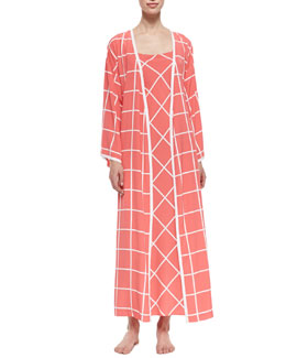 Natori Windowpane Print Long-Sleeve Wrap Robe & Gown, Sunset