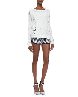 Diane von Furstenberg Knit Long-Sleeve Sweater & Tiffany Striped Silk Shorts