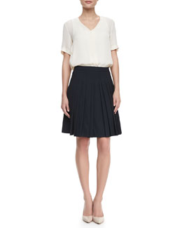 Theory Napala Short-Sleeve Silk Blouse & Haidin Pleated A-Line Skirt