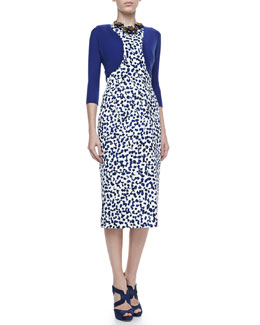 Oscar de la Renta Cashmere-Silk Shrug & Sleeveless Printed Dress