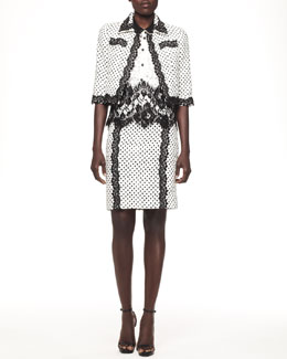 Oscar de la Renta Lace-Trim Cropped Jacket, Sleeveless Contrast Lace Blouse & Dotted Lace-Trim Skirt