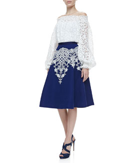 Oscar de la Renta Off-the-Shoulder Lace Blouse & Embroidered Full Skirt