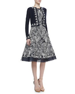 Oscar de la Renta Embroidered Bolero & A-Line Cocktail Dress