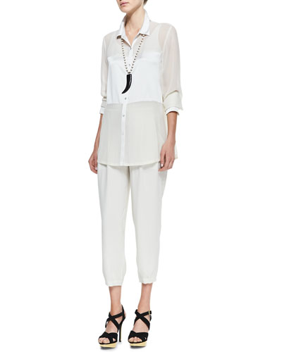 Silk Long Button-Front  Shirt, Slim Camisole & Silk Drawstring Cropped Pants