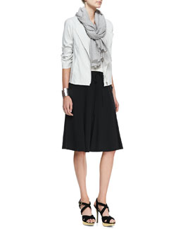 Eileen Fisher Polished Ramie A-Line Jacket, Slim Camisole, Perforated Scarf & Gored Knee Skirt & Perforated Cotton-Blend Scarf