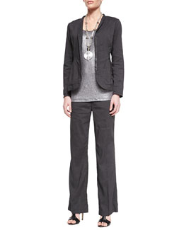 Eileen Fisher Stretch Shawl-Collar Peplum Jacket, Jersey Shimmer Tank & Linen-Blend Straight-Leg Trousers, Petite