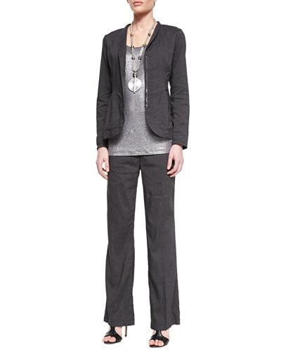 Eileen Fisher Stretch Shawl-Collar Peplum Jacket, Jersey Shimmer Tank & Linen-Blend Straight-Leg Trousers, Petite