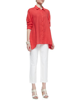 Eileen Fisher Handkerchief Linen Boxy Shirt & Organic Stretch Twill Slim Ankle Pants, Petite