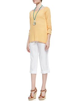 Eileen Fisher Long-Sleeve Organic Linen Knit Top, Slim Tank & Cuffed Twill Capri Pants, Women's