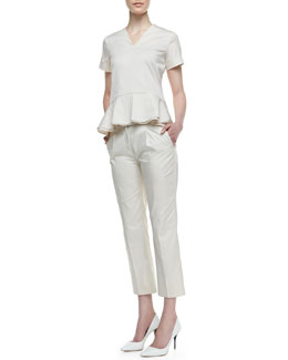 Theory Lacole Short-Sleeve Peplum Top & Jorah Pleated Straight-Leg Pants
