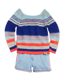 Little Marc Jacobs Metallic Knit Sweater & Two-Tone Denim Shorts, Sizes 2-5