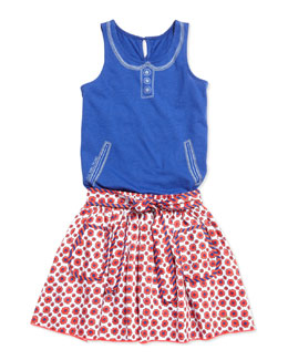 Little Marc Jacobs Trompe l'Oeil Collar & Pocket Tank Top & Floral-Print Woven Skirt, Sizes 2-5