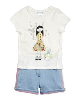 Little Marc Jacobs Butterfly Printed Short-Sleeve Jersey Tee & Two-Tone Denim Shorts, Sizes 2-5