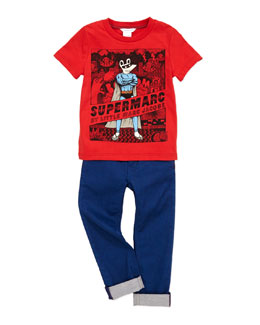 Little Marc Jacobs Printed Supermarc Tee & Coated Denim Jeans, Sizes 2-5