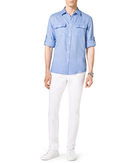 MICHAEL KORS  Two-Pocket Linen Shirt & Stretch Calvary Jeans