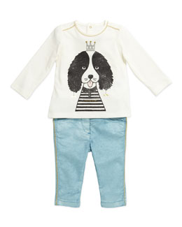 Little Marc Jacobs Dog-Print Long-Sleeve Jersey Tee & Pearlized Pants with Metallic Stitching, 3-18 Months