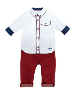 Little Marc Jacobs Woven Graph-Check Shirt & Cotton-Blend Slim-Fit Pants, 3-18 Months