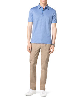 Michael Kors  Striped Polo Shirt & Khaki Cargo Pants